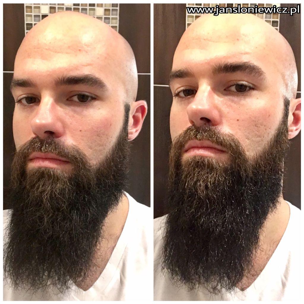 W rzeczywistości efekt jest lepszy niż na zdjęciu. Broda po lewej (przed zastosowaniem) jest matowa oraz sucha, po prawej błyszczy się i wygląda zdrowiej.